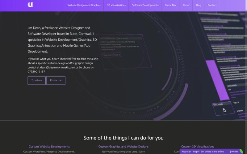 This is the portfolio of Dean Wronowski - Bude Website